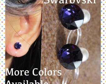 Invisible Clip on earring  C21s  Velvet Purple Swarovski Crystal Wedding Clip on earring Non pierced earring, Magnetic Earring alternative