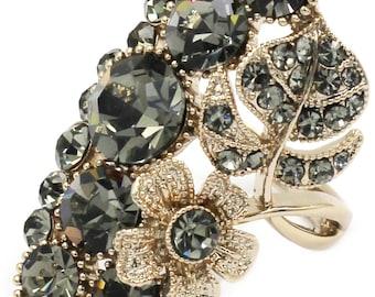 Elegant crystal flower and foliage golden ring
