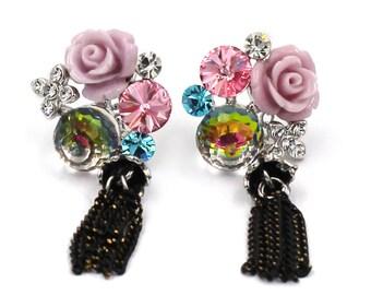Lovely flower crystal earrings