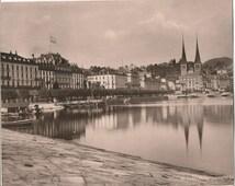 antique 1880s albumen photograph of lucerne switzerland