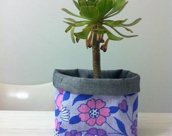Fabric bucket  (medium) vintage sheet and denim storage plant pot