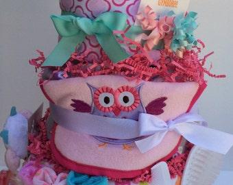 Owl Baby Diapercake Diaper Cake Shower Centerpiece Pink Aqua