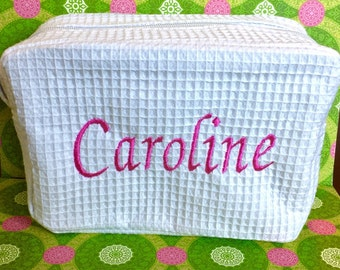 Personalized Waffle Cosmetic Bag, White Cosmetic Bag, White Waffle Cosmetic Bag, Monogrammed Cosmetic Bag, Monogrammed Waffle Bag