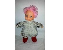 Vintage Ice Cream Doll, Pink Yarn Hair, Freckles, Soft Body Doll, Rubber Face Doll, Yarn Hair, Dollcraft, Cuddle Doll, Vintage Doll