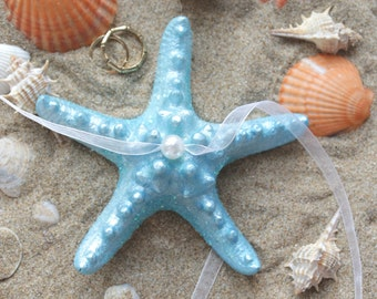 Starfish Ring Pillow, Beach Wedding, Alternative Ring Bearer, Sparkly Ring Holder, Nautical Wedding, Coastal Ceremony, Turquoise Blue