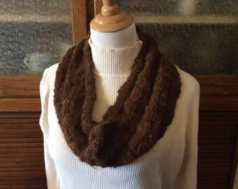 Hand spun, hand knit alpaca cowl
