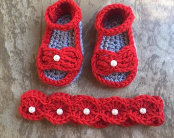 Bow style sandals with matching headband