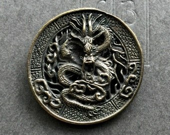 Dragon Pendant Brass Dragon Pendant 30mm One Piece