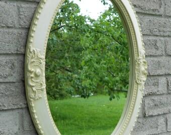 Antique white wall oval mirror.  vanity mirror, nursery mirror, bathroom mirror, shabby chic