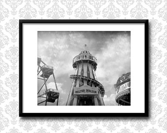 Helter Skelter Photograph carnival art print, Fairground wall art, hearts, Black and white fairground photography, England