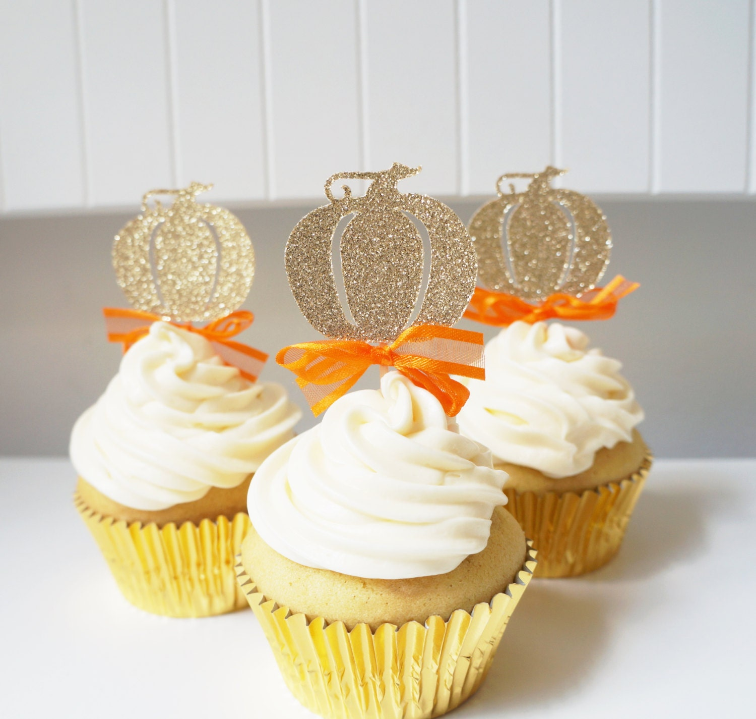 Gold Glitter Pumpkin Cupcake Toppers By GoldDrift On Etsy