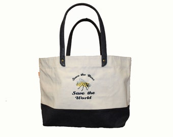 Save the Bees Save the World Heavy Duty Large Tote, Beach Bag, Boat Tote, Swim Bag, Honey Bee, Cool Bag, Perfect Gift, Book Bag, Beekeeper