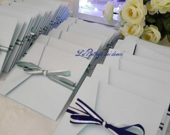 Participation in Pearl paper celeste and satin ribbons, handmade