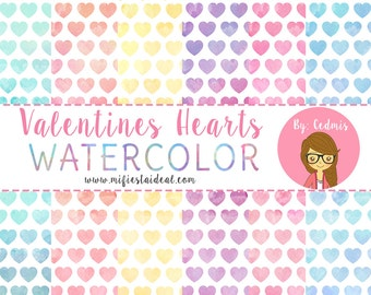 Valentines hearts watercolor, digital paper.