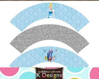 Cinderella Princess Cupcake Labels Wrappers Printable Uprint Digital DIY Instant Download