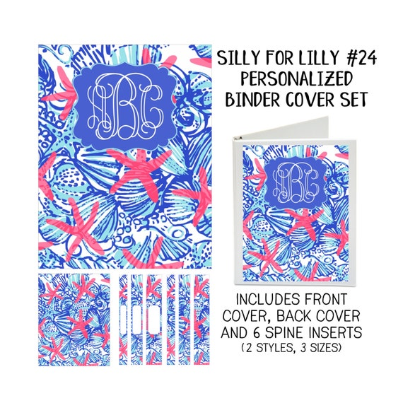 Silly for Lilly #24 Printable Binder Cover Set with Front & Back Covers and Spine inserts - Personalized- Dress up Your Three Ring Binder!