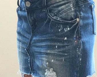 Jean Mini Skirt Cut Off Handmade