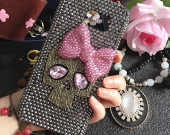 Bling Punk Metal Bronze Skull Cute Pink Eyes Big Bow Sparkly Crystals Rhinestones Diamonds Fashion Hard Cover Case for Various Mobile Phones