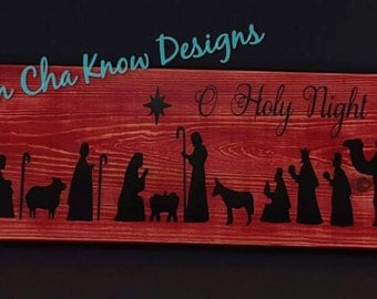 O Holy Night Wood Sign