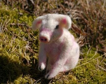 Needle felted miniature piglet
