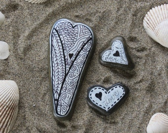 Three Heart Shaped Beach Stones