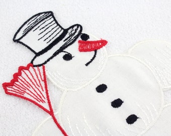 50s tablecloth Snowman crafted Christmas table decoration