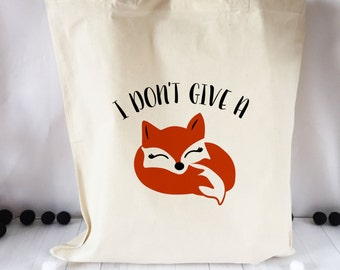 FOX Tote Natural Cotton Tote Shopping Bag  FREE SHIPPING