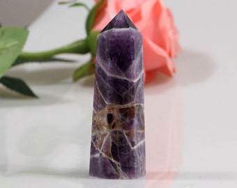 Beautiful Chevron Banded Amethyst Crystal Point Reiki Healing#453