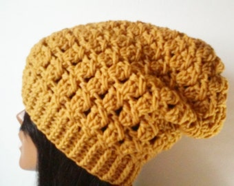 Mustard yellow slouchy hat, gold slouchy hat, womens winter beanie,chunky beanie