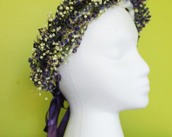 Handmade Lavender and Gypsophila Crowns for Brides, Bridesmaids, and Flower girls!