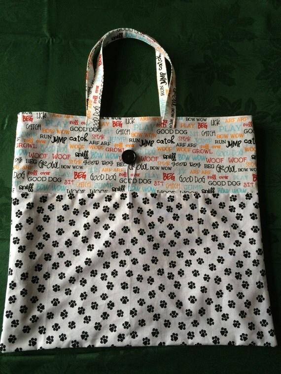 Good Dog Black Paws Roll-up Cloth Tote Bag