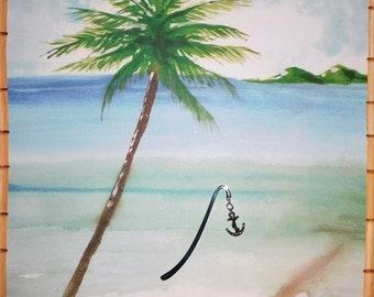 anchor bookmark, book accessory, beach theme bookmark, wedding favor, shower favor, beach theme party favor, ocean bookmark, gift idea, 4 in