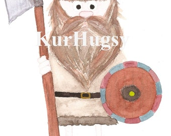Viking, watercolor, Watercolor-print hard copy
