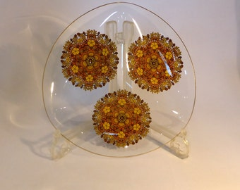 Vintage sectional glass plate with 3 mandala designs