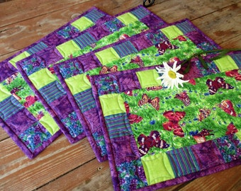 Quilted Placemats, Butterfly Placemats, Summer Table Mats, Snack Mats, Mug Rugs, Purple Blue Green Fabric Placemats, Picnic Table Mats, Boho