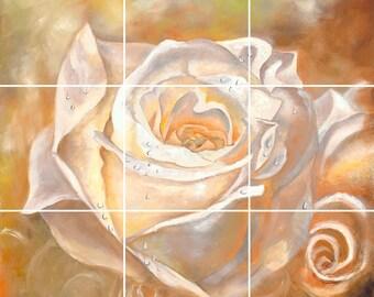 God's Medium Rose Tile Mural Painting Back Splash Kitchen Home Decor Art