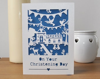 Christening Card - Handmade Paper Cut Card - 5x7 Inches