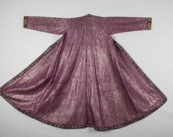 Antigüedad, Brocaded UZBEKO CHAPAN, capa, vestido, traje, 1900, viene gratis con ups