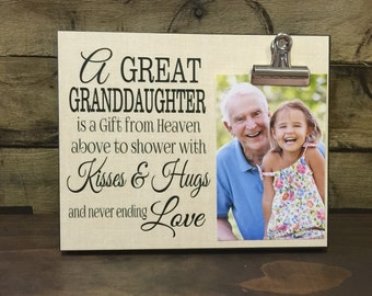Grandparents Gift, Personalized Picture Frame, A Great Granddaughter Is A Gift, Gift For Grandma, Gift For Grandpa,