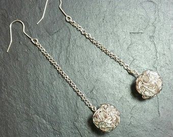 Very Long Filigree Ball Earrings