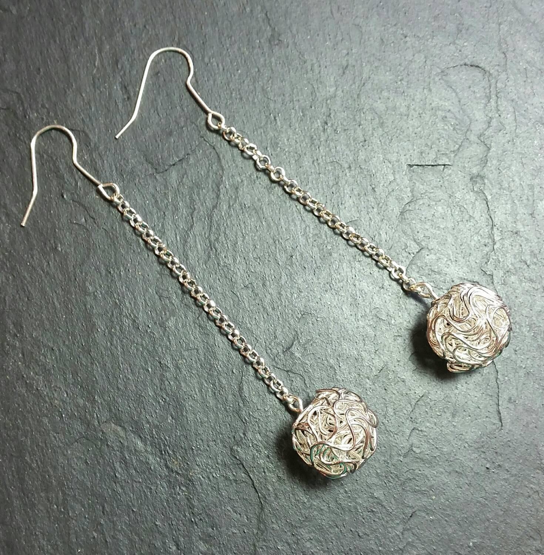 very long filigree ball earrings by jewelleryt on etsy