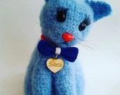 AMIGURUMI Cat Kitty  blue Pussycat Knit Mohair Cat Handmade Miniature Cat  Mohair Wool Cat Handmade Gift