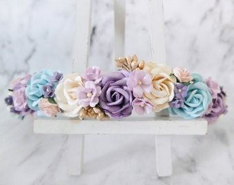 Purple turquoise blue and cream with gold berries wedding flower crown - head wreath - hair accessories - flower girls - garland
