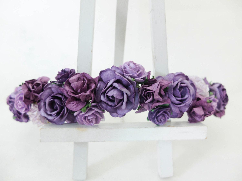 Purple Flower Crown Floral Hair Wreath Flower By Musefleur