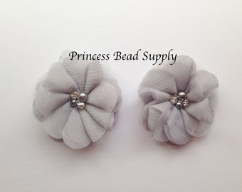 "Gray Chiffon Flowers, Set of 2 Gray Chiffon Flowers,  3"" Chiffon Flowers,  Pearl & Rhinestone Chiffon Fabric Flowers, Headband Flowers"
