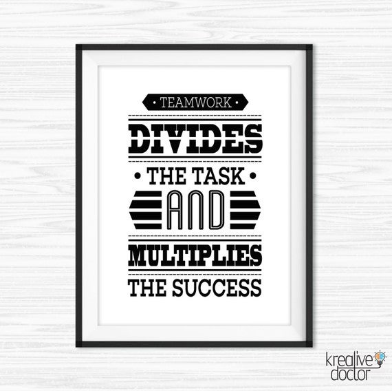 Office Wall Art Teamwork Quotes Printable Success Quotes