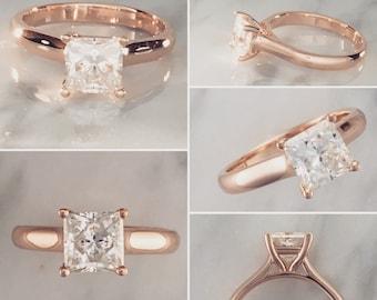 1CT Princess Cut Diamond Solitaire Engagement Ring - 14K Rose Gold - GIA Certified Diamond - 1.00 Carat Diamond - K Color / SI1 Clarity