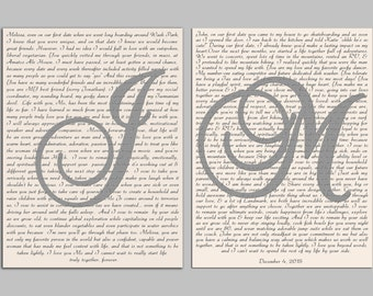 "Wedding Vows Canvas Print Art ""He"" and ""She"". Set of 2 same size Custom Canvas Print - Wedding Gift. Anniversary Gift."