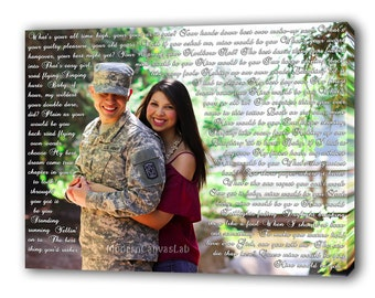 Custom Photo with Vows, Lyrics, Love Story, Text, Words, Prayers. Anniversary Gift. Special B'day Gift. Custom Gallery Canvas Print.