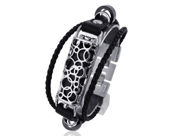 Bracelet SOMA 2 - Flex Bracelet - made from stainless steel and leather